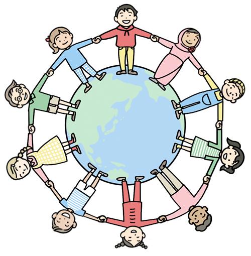 地球と子供達が手をつなぐイラスト