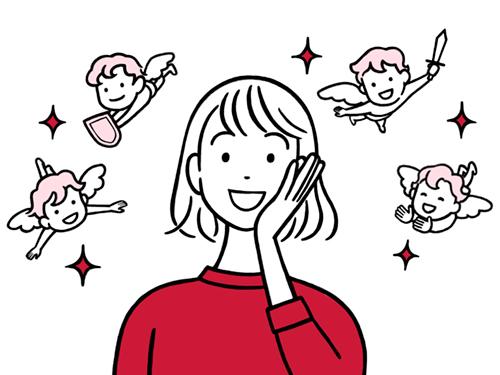 笑顔の女性と天使のイラスト