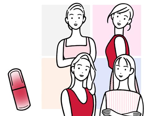 女性4人のイラスト