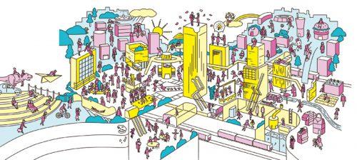 渋谷のアイデア俯瞰図イラスト