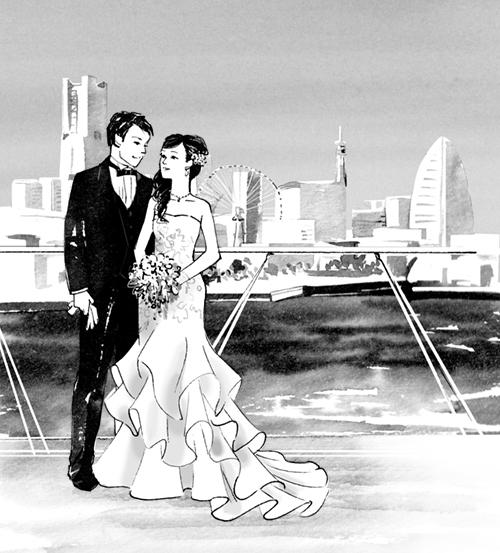 横浜をバックに新郎新婦のイラスト