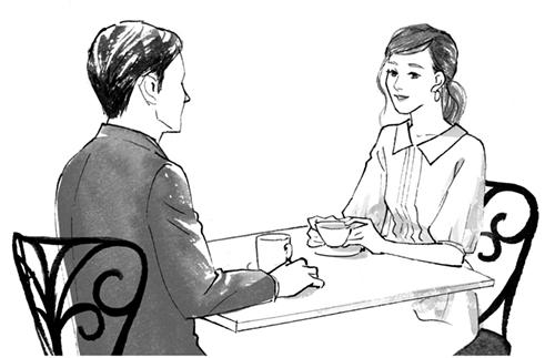 お茶をする男女のイラスト