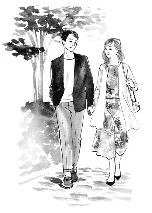 デートする男女のイラスト