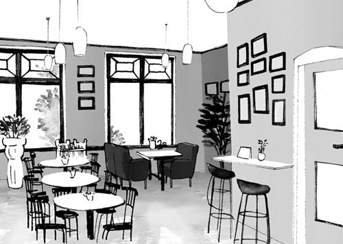 カフェ店内のイラスト