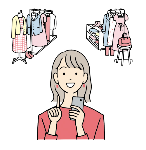 スマホでショッピングする女性のイラスト