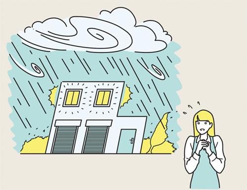 災害を気にする女性のイラスト