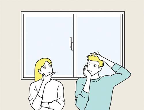 窓と悩む男女のイラスト