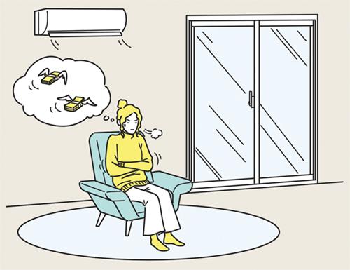 光熱費を心配する女性のイラスト