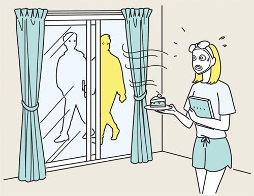 外から部屋が見えて困る女性のイラスト