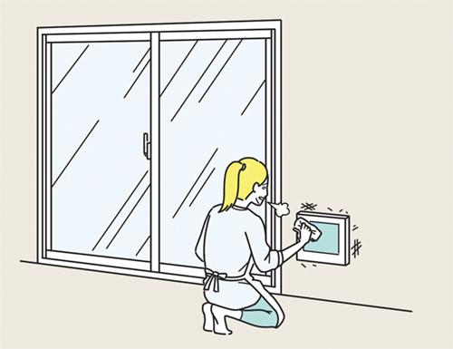 設備を掃除する女性のイラスト