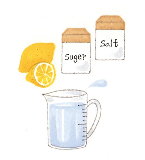 塩とレモンと水のイラスト